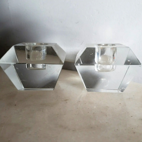 Clear Crystal Block Tapered Candle Stick Holders